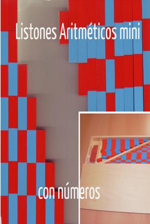 Listones Aritméticos mini con números. Introducción a la pedagogía Montessori etapa 6 – 8 años. Área de matemáticas