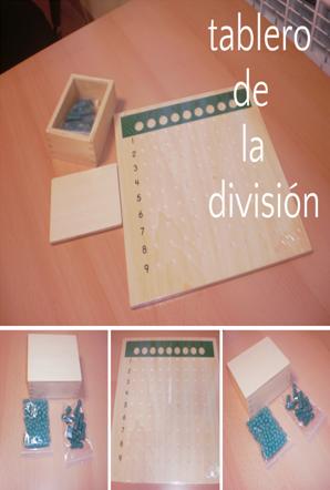 Tablero de la División. Introducción a la Pedagogía de Monttessori etapa de 6 a 8 años. Área de matemáticas